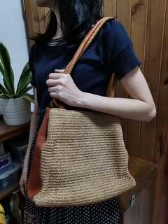 rare straw and leather bag