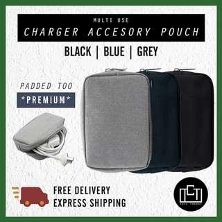 🚚 🔅cT🔅 SMALL Accessory charger cable pouch casing for battery makeup pouch for all laptops 4 COLOURS DARK GREY NEW