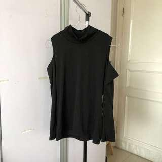Black open shoulder turtleneck