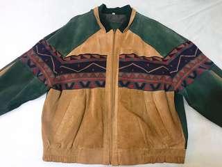 🚚 古著皮革拼接外套