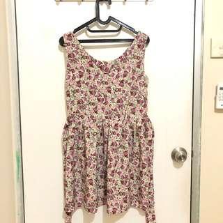 Baju Dress Terusan Overall Rok Floral Bunga Flower