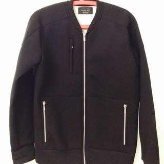 極新 ZARA 太空棉 外套 夾克 銀色拉鍊 厚 重磅 黑 M