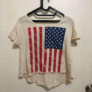 Baju Crop Tee Kaos Top Atasan Blouse USA Flag Bendera Amerika