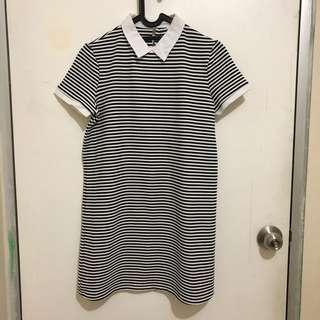 Zara Dress Terusan Overall Rok Stripe Collar Simple