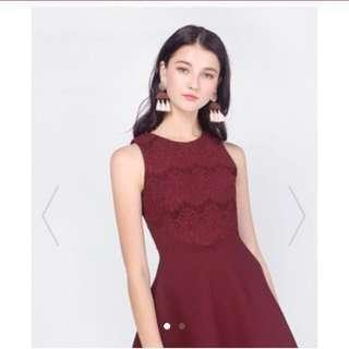 Fayth asthea lace swing dress in burgundy