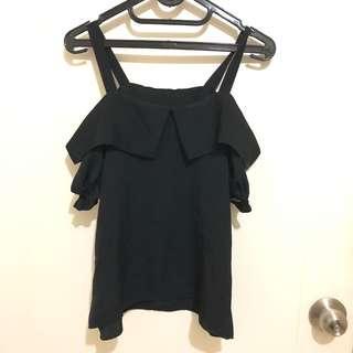 Tee Top Atasan Baju Blouse Sabrina Black Hitam Simple