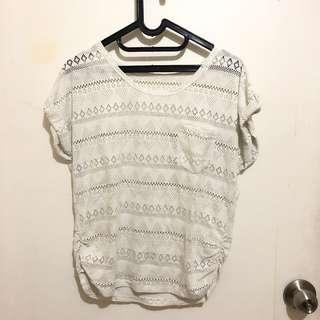 Tee Top Atasan Baju Blouse Brukat Lace White Simple Putih