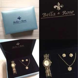 全新 Bella&Rose 手錶 耳環 項鍊 禮盒組