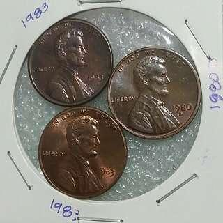 USA 1 Cent Lincoln Coins