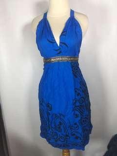 long blue bali dress