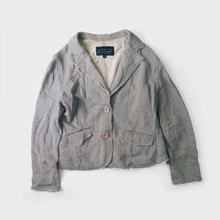 🚚 二手/ 英式 灰色 棉質 休閒 西裝外套