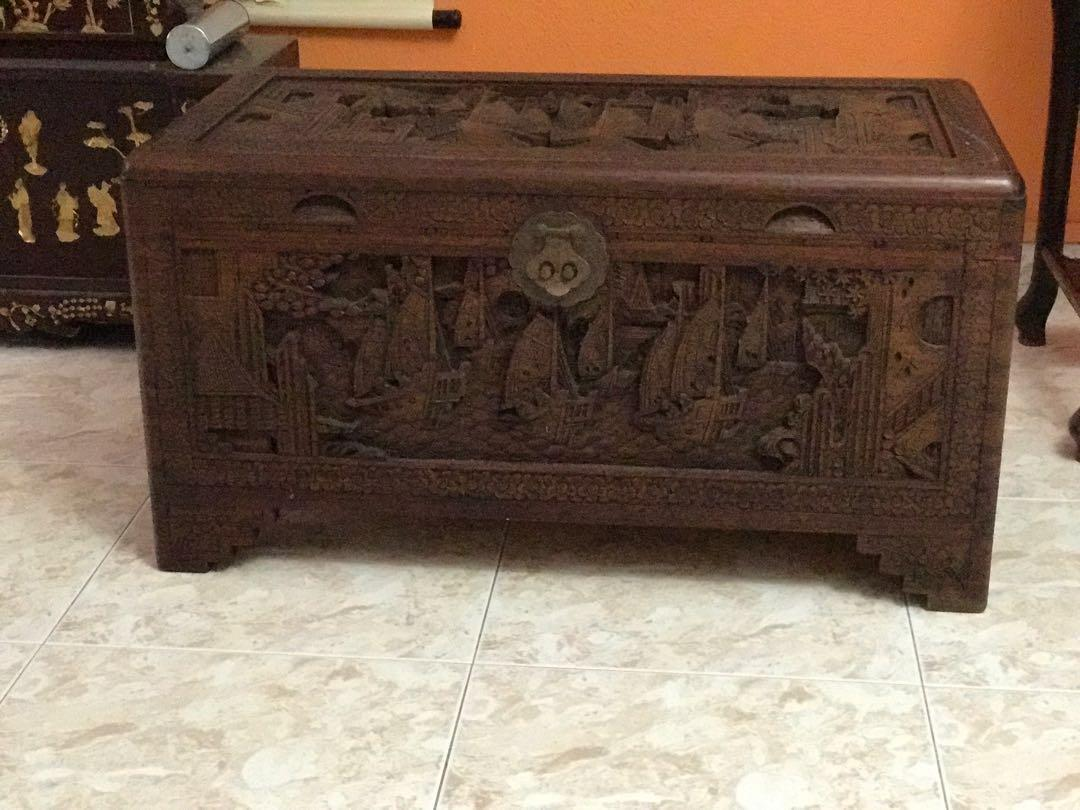 Antique Chinese Carved Camphor Wood Chest Box Vintage