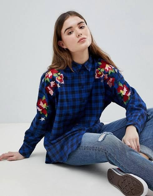 ASOS Oversized Check long sleeve Boyfriend shirt with Embroidery