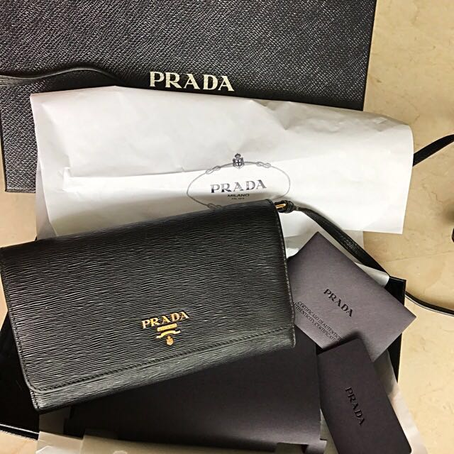 ea3dcf3db7cb Authentic Leather Prada Wallet with Sling