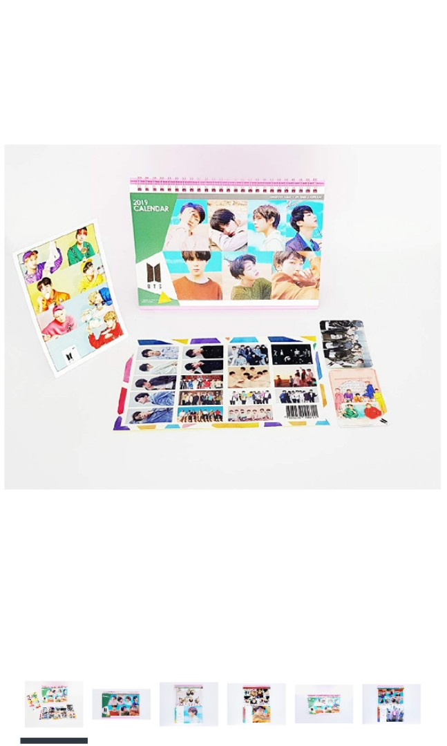 10 Po Bts 2019 Desk Calendar With Stand Photo Photocards Sticker