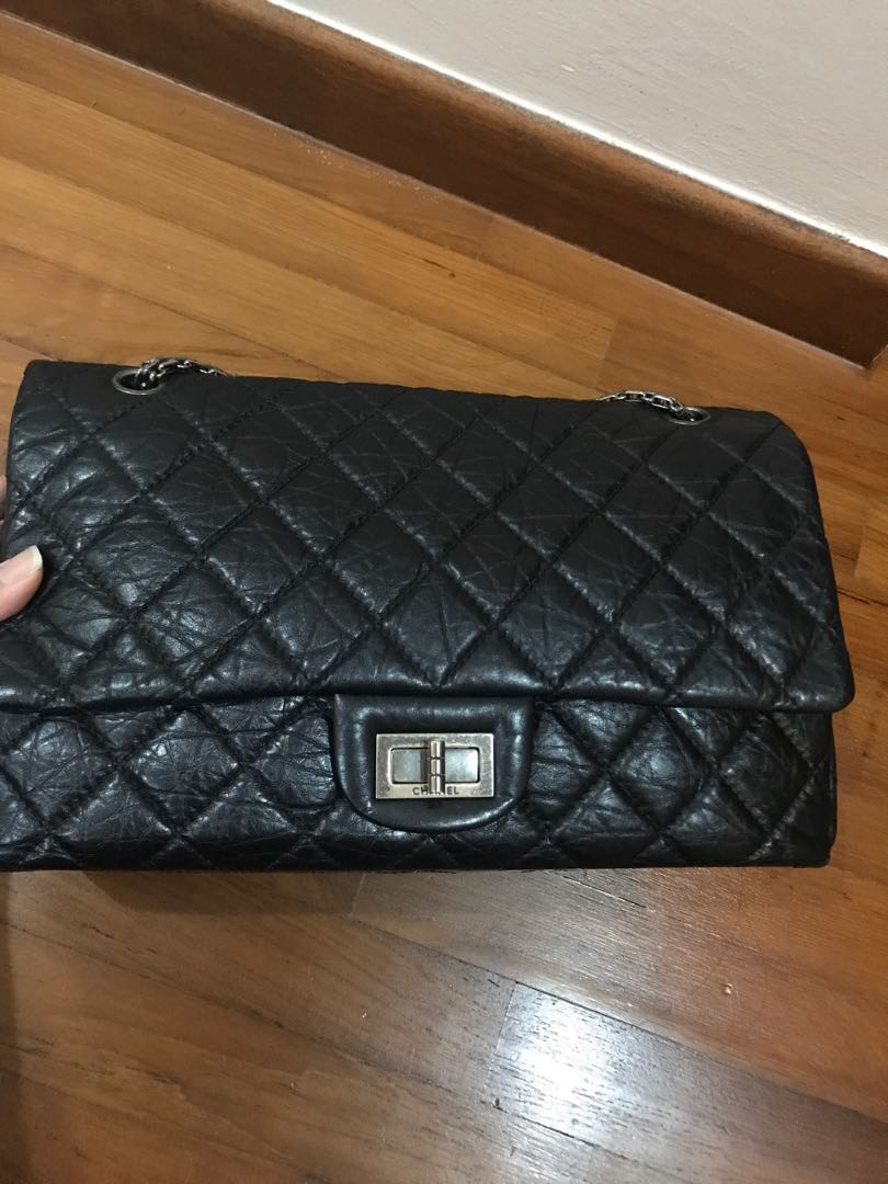 Chanel 2.55 reissue black with Rodium chain jumbo 9e148487e2960