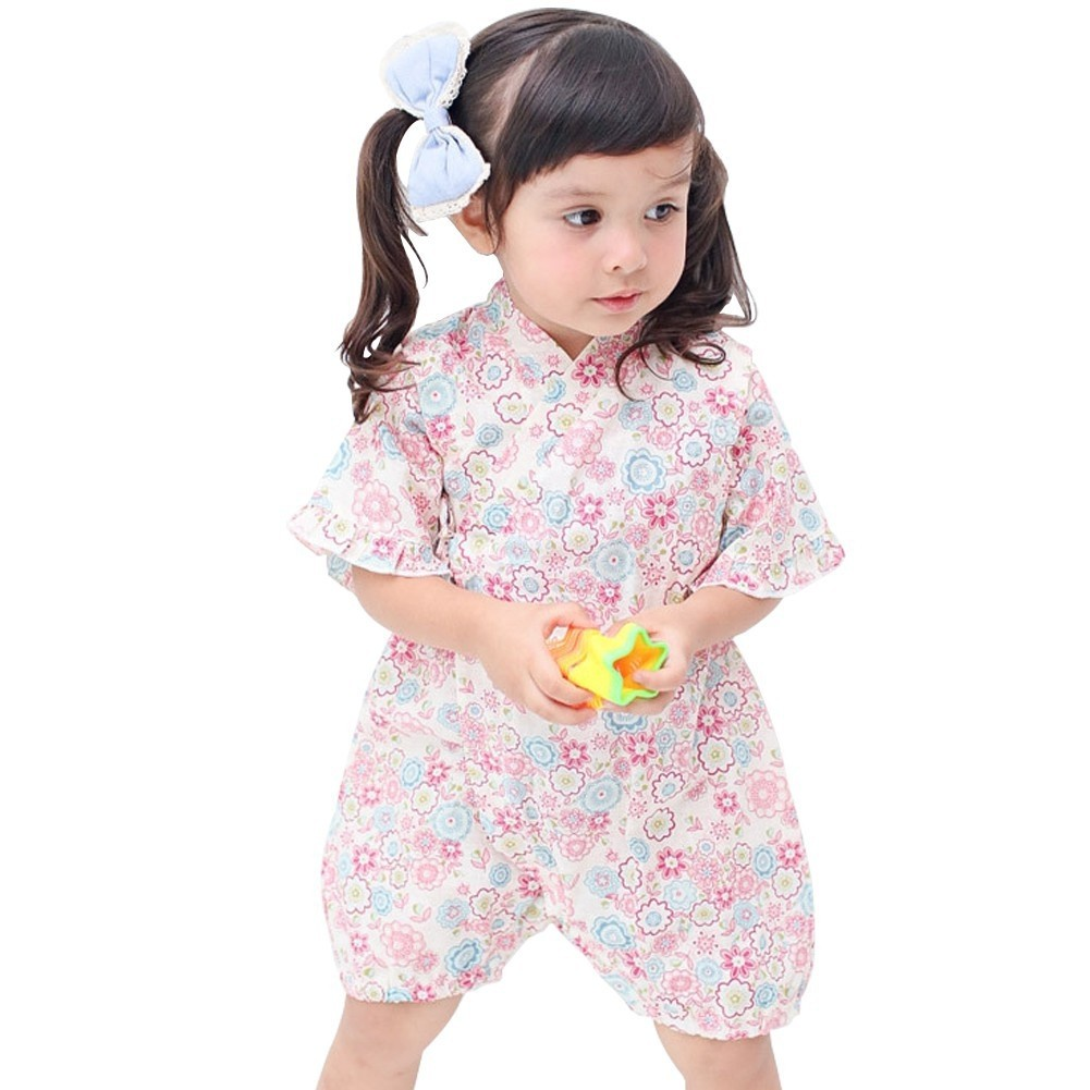 d644069bed6 CNY COLLECTION 2019  Baby girl Japan Floral Pink Kimono Romper ...