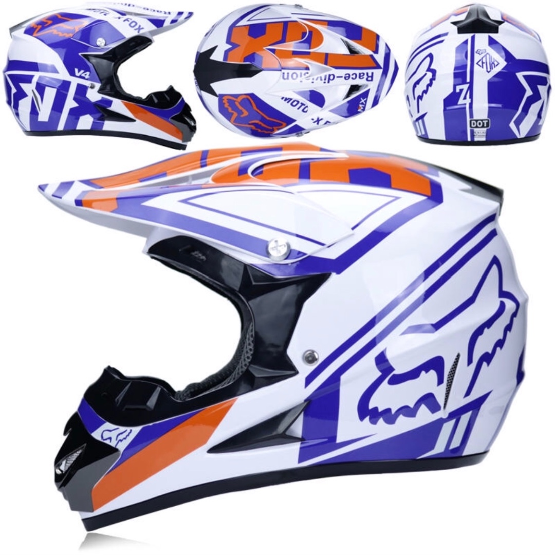 Fox White With Blue And Orange Designs Full Face Motorcycle Helmet Scrambler Motorcross Motocross Scrambler Off Road Dirt Bike Motorcycles Motorcycle Apparel On Carousell
