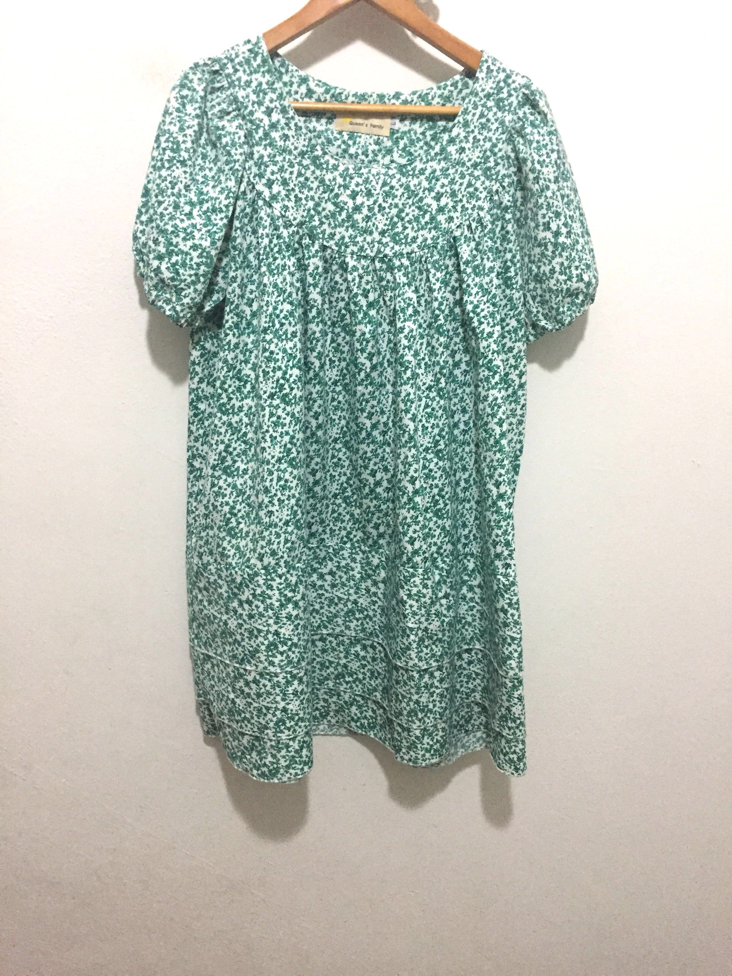 Puffy Sleeve Dress Green