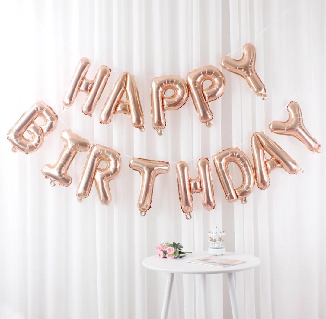 Happy Birthday Balloon Foil Rose Gold Unicorn