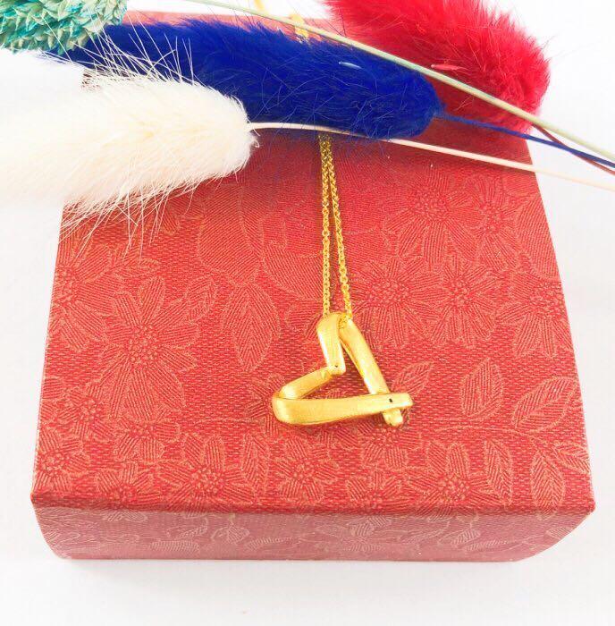 【HC Girls】9999純黃金 專屬幸福愛心項鍊(含18K鍊子) 黃金項鍊 純金項鍊