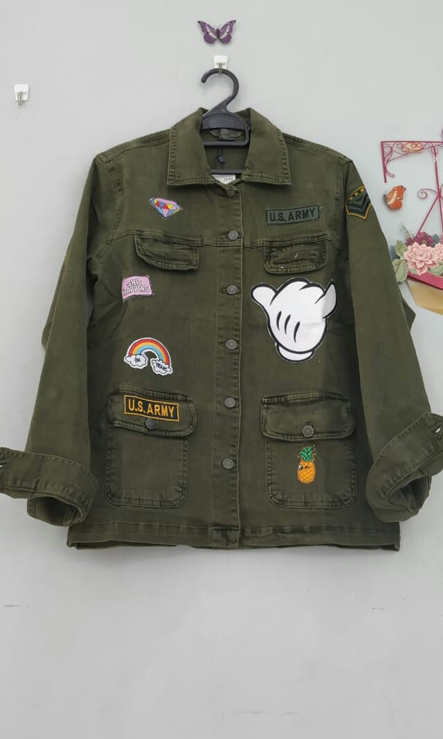Jaket Levis/Jeans Wanita Warna Hijau Army, Women's Fashion, Women's Clothes, Tops on Carousell
