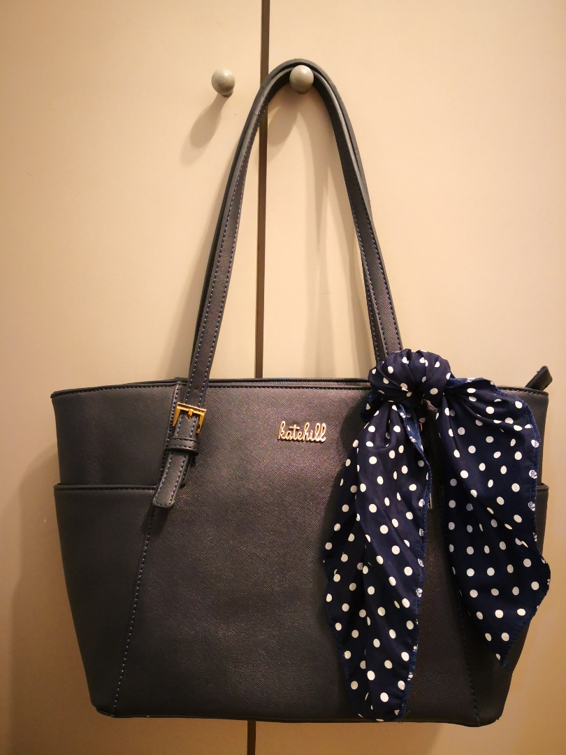 Kate Hill Elegant Navy Blue Handbag