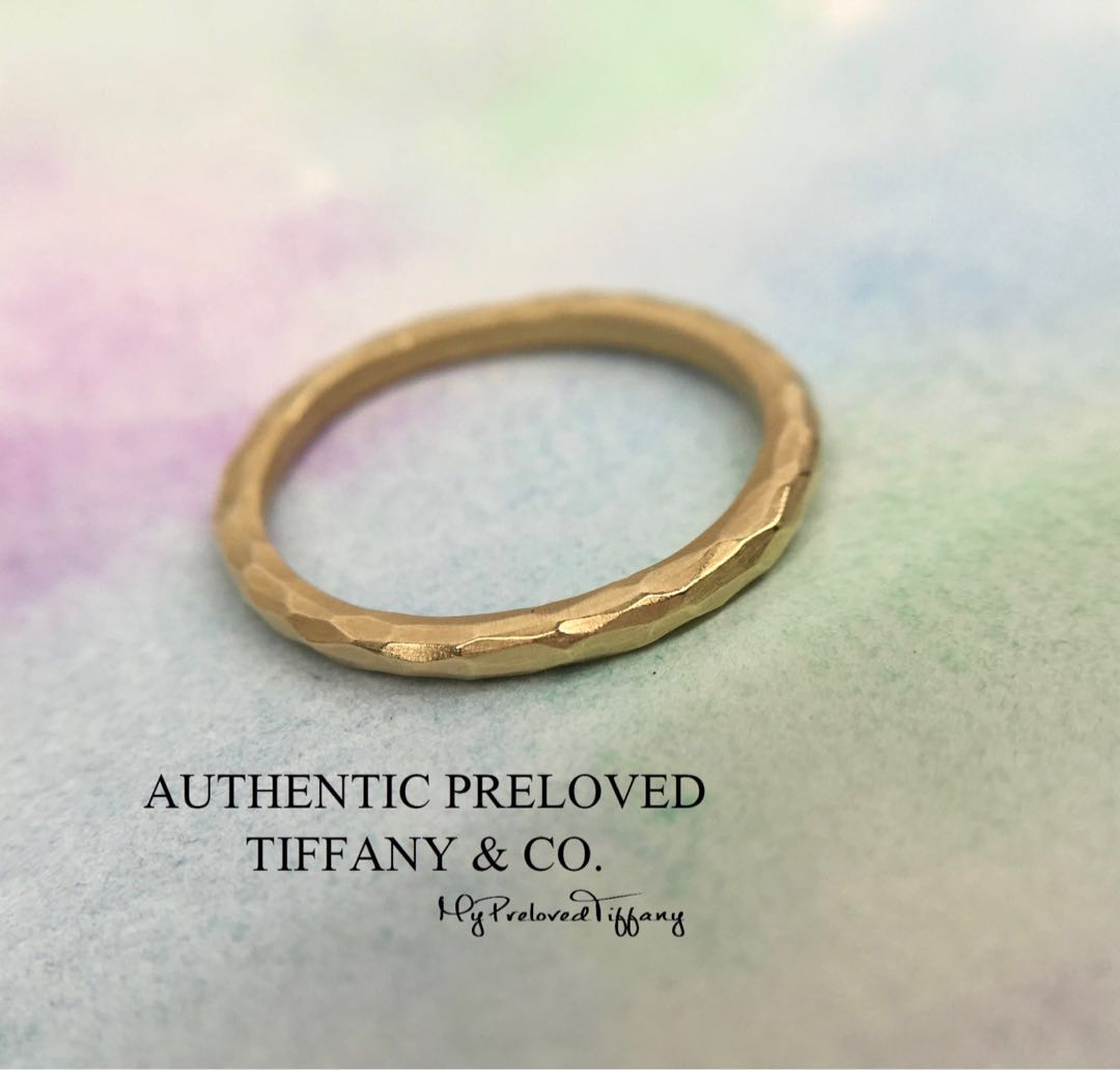 3445a41ba Mint Tiffany & Co Paloma Picasso Yellow Gold Hammered Band Ring 18k ...