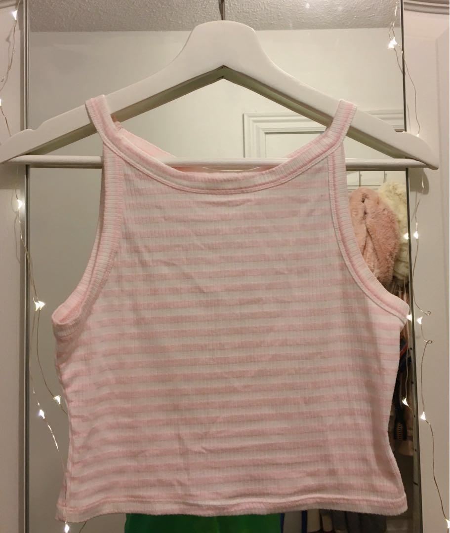 Pink/White Crop Top