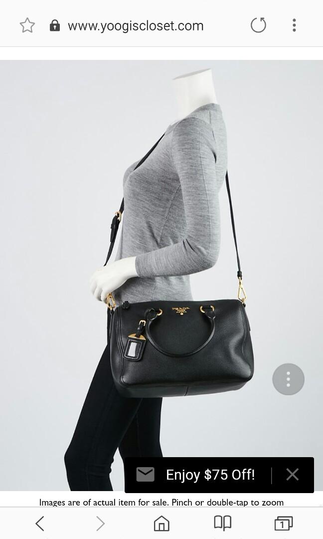62184429df8c Prada Black Vitello Phenix Leather Bauletto Bag, Women's Fashion, Bags &  Wallets, Handbags on Carousell