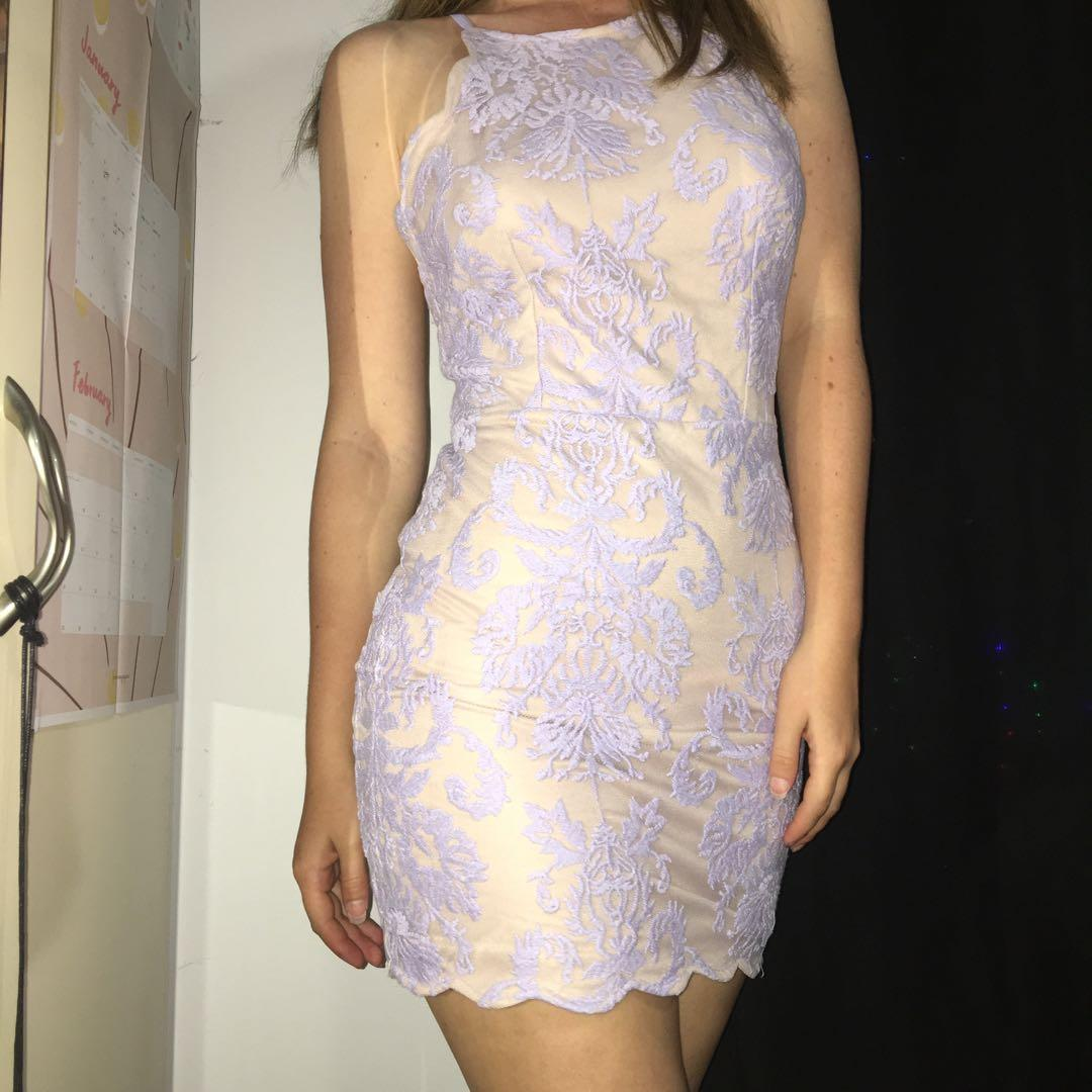 Pretty in Purple lace cocktail dress with nude underlayer and crossed straps