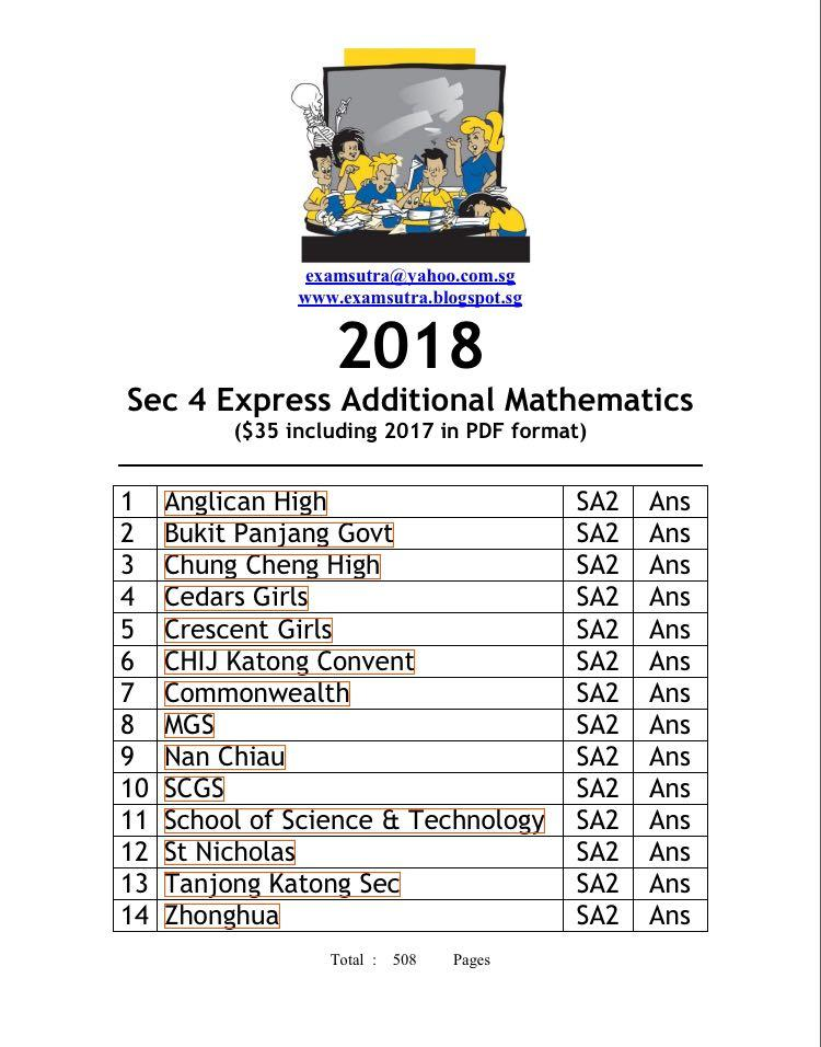 Sec 4 2018 Add Math Exam Papers (softcopy), Books
