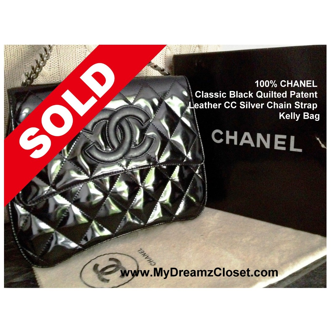 7abc72d22d9c SOLD - 100% CHANEL Classic Black Quilted Patent Leather CC Silver ...
