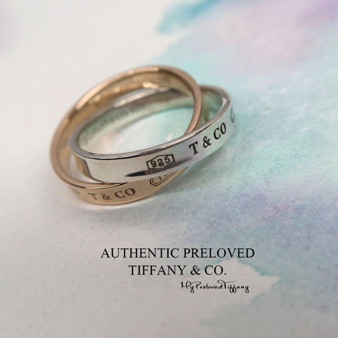 0b7a2b4f18fa9 Tiffany & Co. 1837 Rose Gold 750 Silver Interlocking Circles Ring ...