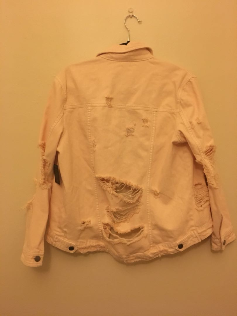 Torn denim jacket, millennium pink