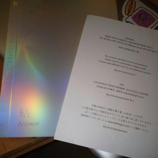 UN SEALED FIRSTPRESS BTS ANSWER L VERSION WITH POSTER AND 2 SLEEVES