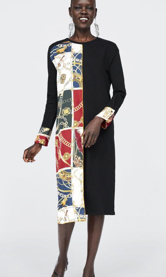 f2af74a38d0 Zara contrast chain print dress