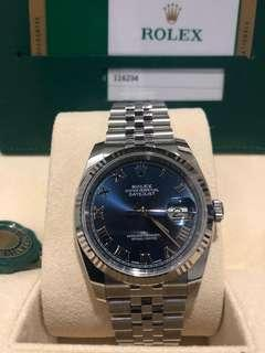 BNIB Rolex Datejust 36mm - Blue Dial