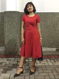 Dress Merah Scuba