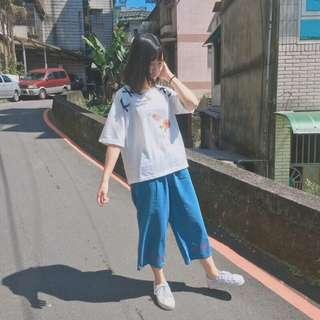🚚 Midori~刺繡緞帶牛仔褲