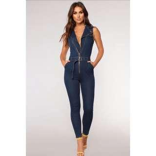 Dark denim zip up jumpsuit