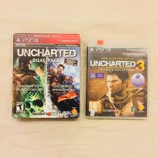 Video Games - PS3 Uncharted Dual Pack (Uncharted 1: Drake's Fortune & Uncharted 2: Among Thieves)