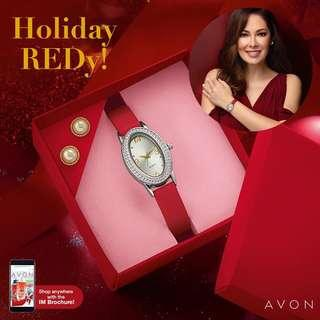 Ashley Watch with earrings (Red) & box
