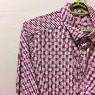 可愛粉紅圓點格紋襯衫