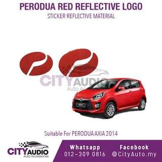 PERODUA AXIA 2014 Red Reflective LOGO