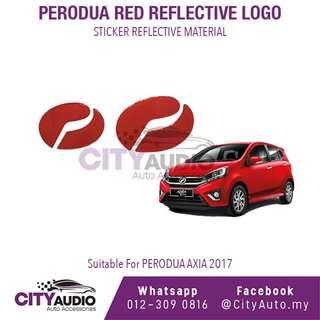 PERODUA AXIA 2017 Red Reflective LOGO