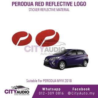 PERODUA MYVI 2018 Red Reflective LOGO