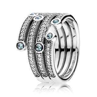 Authentic Pandora Shimmering ocean statement ring