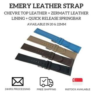 🚚 Emery Chèvre Leather Watch Strap (available in 20 and 22mm)