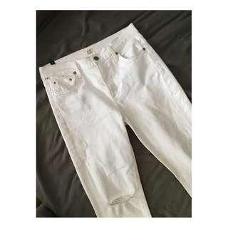 Citizens of Humanity - Rocket Crop White with Distressed Knees (28)